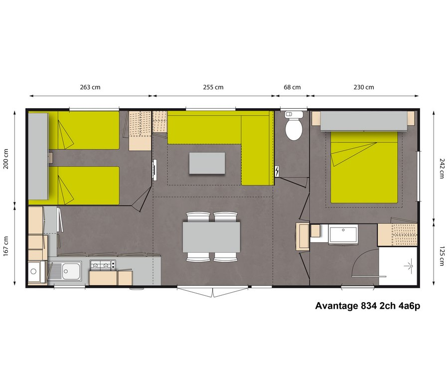 Lay-out 'Avantage' 2 slaapkamers, 4/6 personen.