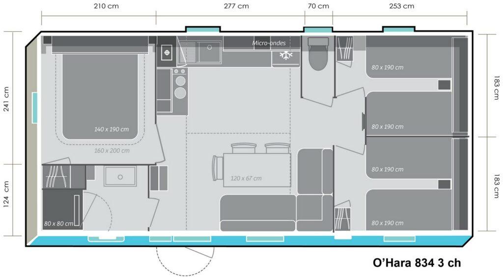 Lay-out 'Avantage' 3 slaapkamers, 6 personen.