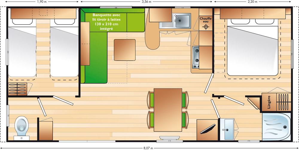 Lay-out 'Avantage' 2 slaapkamers, 4 personen.