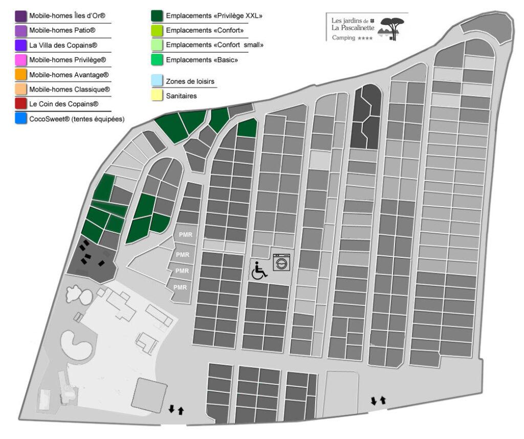 Situation Staanplaatsen 'Privilège XXL' : tenten, caravans & campers